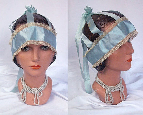 1920s Boudoir Cap Bandeau ~ 20s Steel Blue Silk &