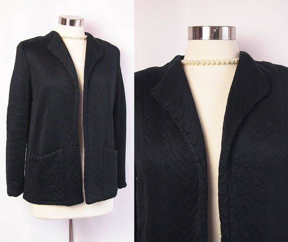 c03ff792e01 1940s Jacket 40s Black Silk Satin Quilted Lounge Jacket w