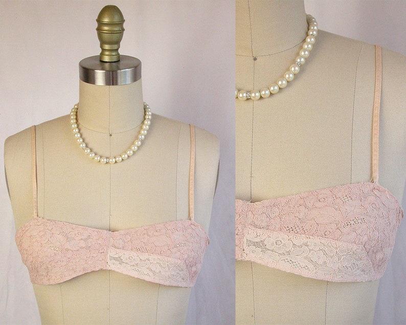 626e77d44cec1 1920s Bra 20s Rose Cream Alencon Lace Handmade Flapper