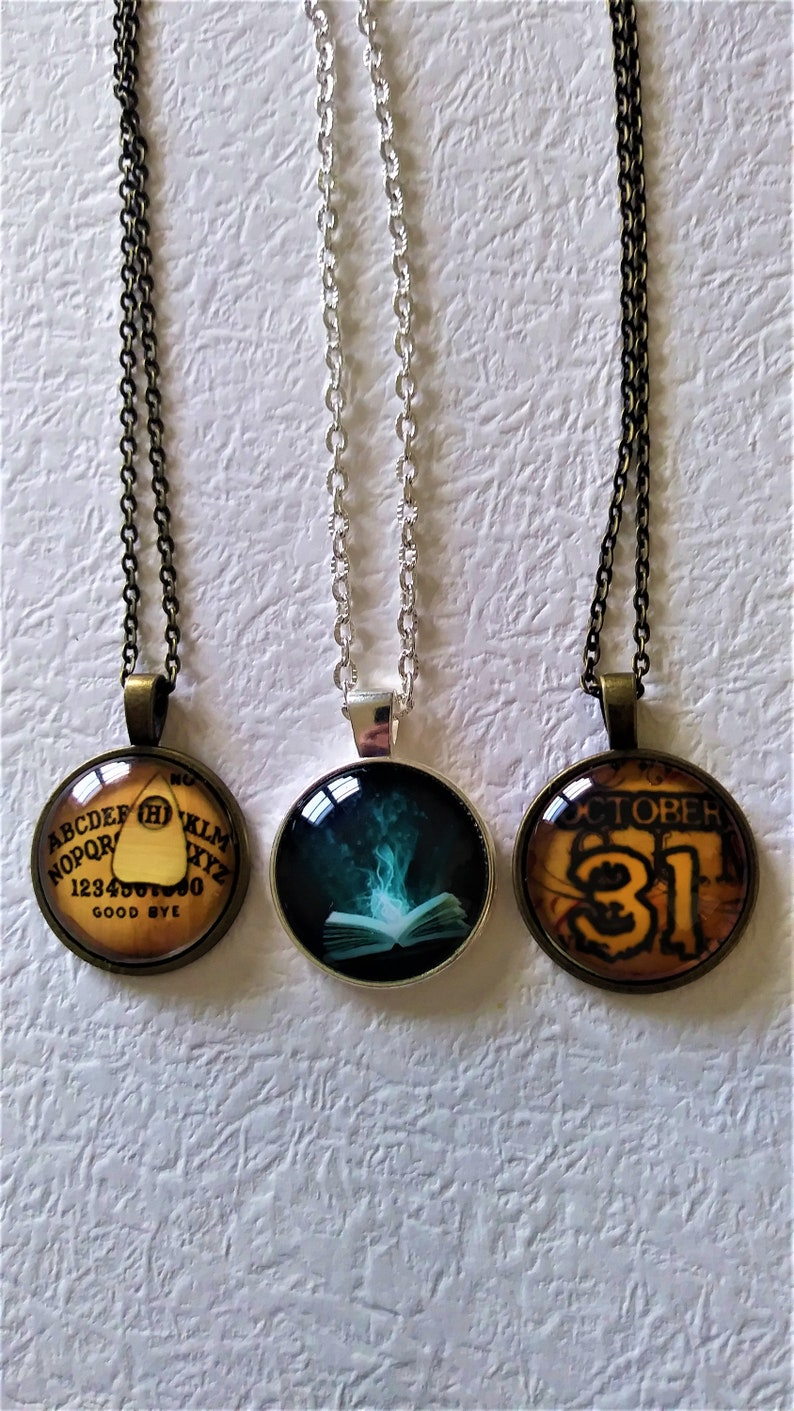 Ouija BoardBook Of Spells And October 31 Pendant NecklacesYou Choose