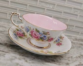 Double warrant Paragon pink and gold teacup and saucer, English tea cup with floral design, rose tea cup,