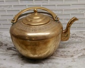 Vintage Taiwanese brass teapot, etched brass teapot, made in Taiwan, asian brass teapot, brass teapot with handle