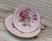 Antique Paragon pink floral tea cup and saucer, double warrant bone china English tea set, footed tea cup, wedding gift