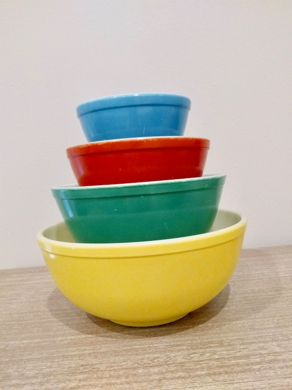 new style 39cd9 d4d6e 1940's Primary Colors Pyrex mixing bowls, color series, nesting bowls,  mixing bowls, pyrex collectibles, 400 series, 401, 402, 403, and 404