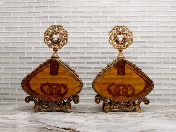 Midcentury pair of French Ormolu glass perfume bot