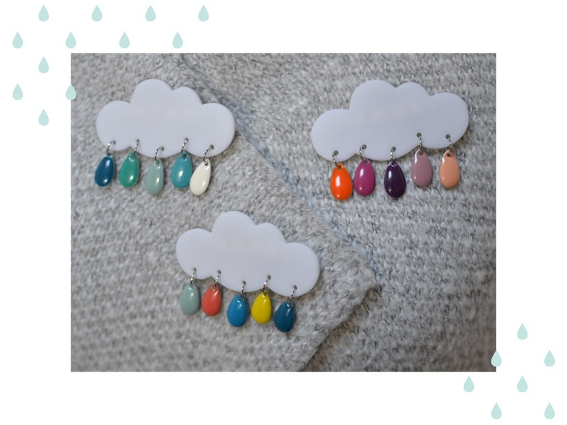 Cloud brooch and multicolored drops to choose from image 0