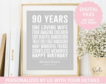 Printable 90th Birthday Gift Print Personalized Sign 90 Years Old Poster Present For Him Her DIGITAL FILES 5
