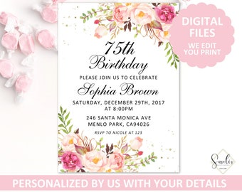 Printable 75th Birthday Invitation Blush Floral Invite Any Age Party Card DIGITAL FILES AB5