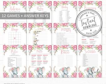 Games Package Party Game EL17 8 Elephant Baby Shower Games Girly Blush Pink Floral Games Bundle Download Printable Instant Download
