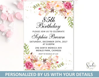 Printable 85th Birthday Invitation Blush Floral Invite Any Age Party Card DIGITAL FILES AB5