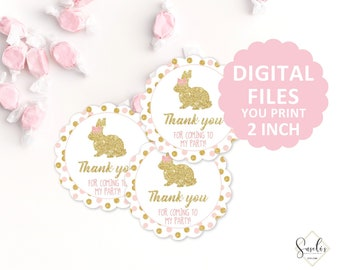 printable thank you tags gold glitter and pink baby shower bunny instant download favor tags stickers birthday thank you cards 10 001