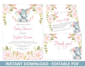 EDITABLE Baby Shower Invitation Bundle Template Watercolor Elephant Blush Pink Flowers PDF Instant Download Diy Printable Digital Files BS53