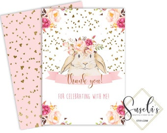 Bunny Birthday Thank you card, Watercolor Flowers Bunny Thank you Rabbit Party DIY Card Printable Birthday 4x6 and 5x7, DIGITAL FILES, BS1
