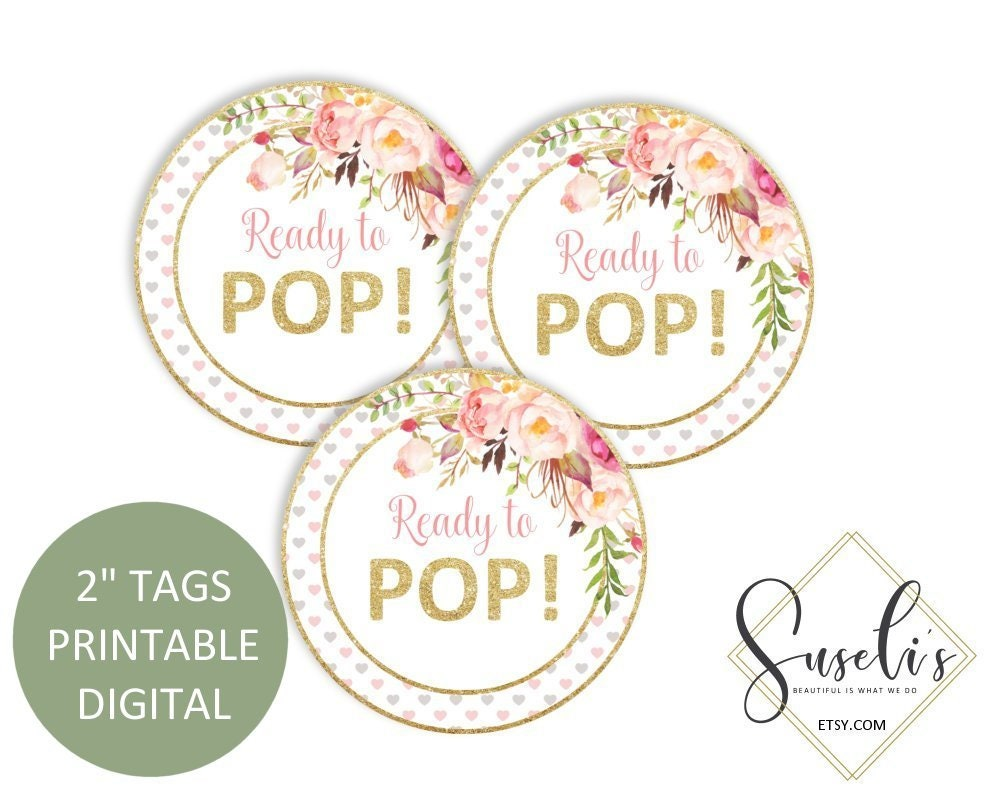 Printable Ready To Pop Tags Blush Boho Floral Baby Shower | Etsy