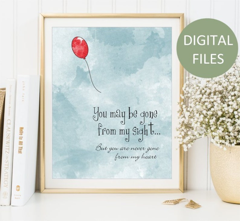 graphic about Gone From My Sight Printable Version named Printable On your own may perhaps be long gone in opposition to my sight, Take pleasure in Memory Watercolor Print, Memorial artwork indicator, Purple Balloon Artwork Poster artwork, Electronic Documents