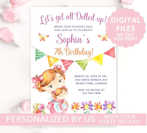 Printable Baby Doll Birthday Invitation Dolly Invite Party Little Girl Watercolor Flowers Tea