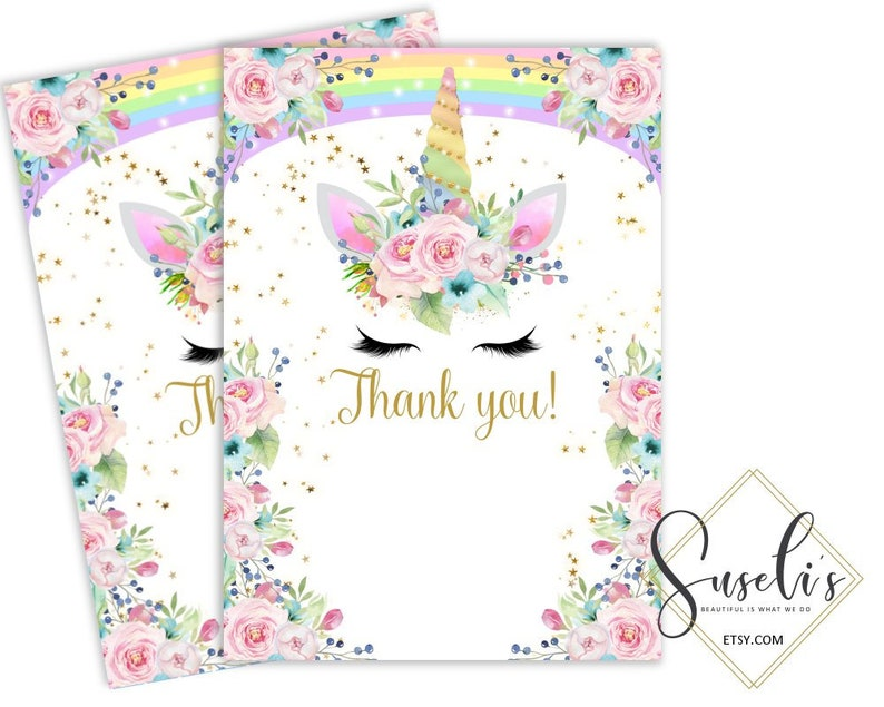 printable unicorn rainbow thank you card unicorn face  etsy