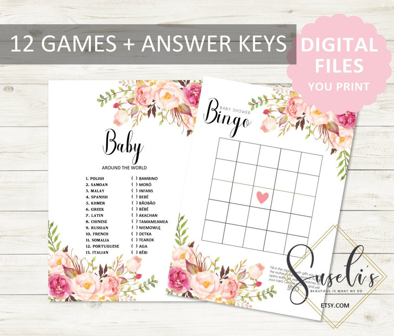 BS12 Activity Boho Watercolor Blush Pink Flowers Printable Baby Shower Game Bundle Instant download DIGITAL FILES Package 12 Games