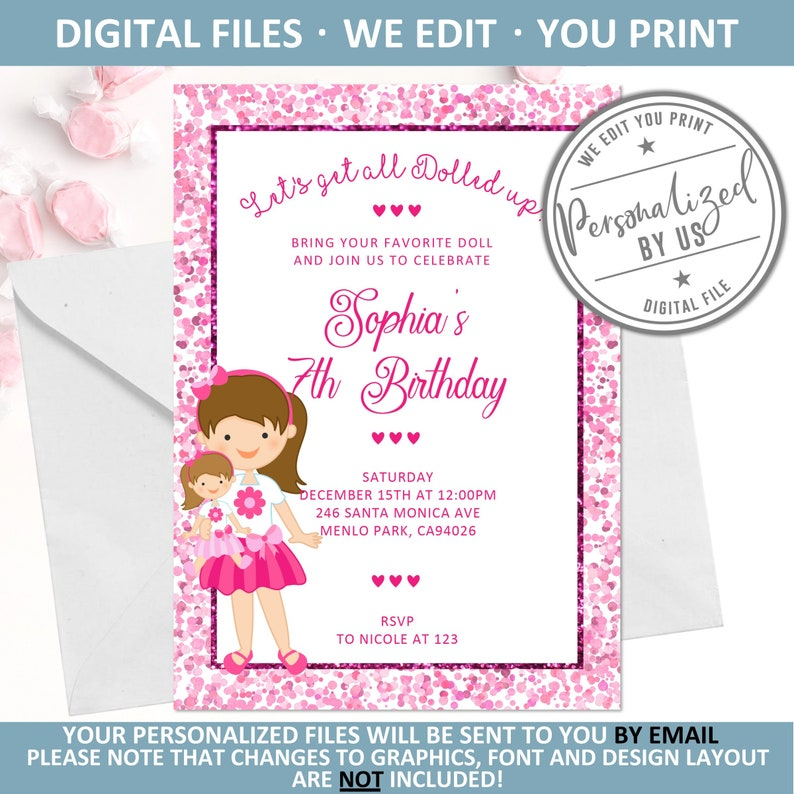 Printable Baby Doll Birthday Invitation, Personalized Dolly Invite, Girl  Pink Confetti, Doll Tea Party Theme, Pink Glitter, DIGITAL, 10-070