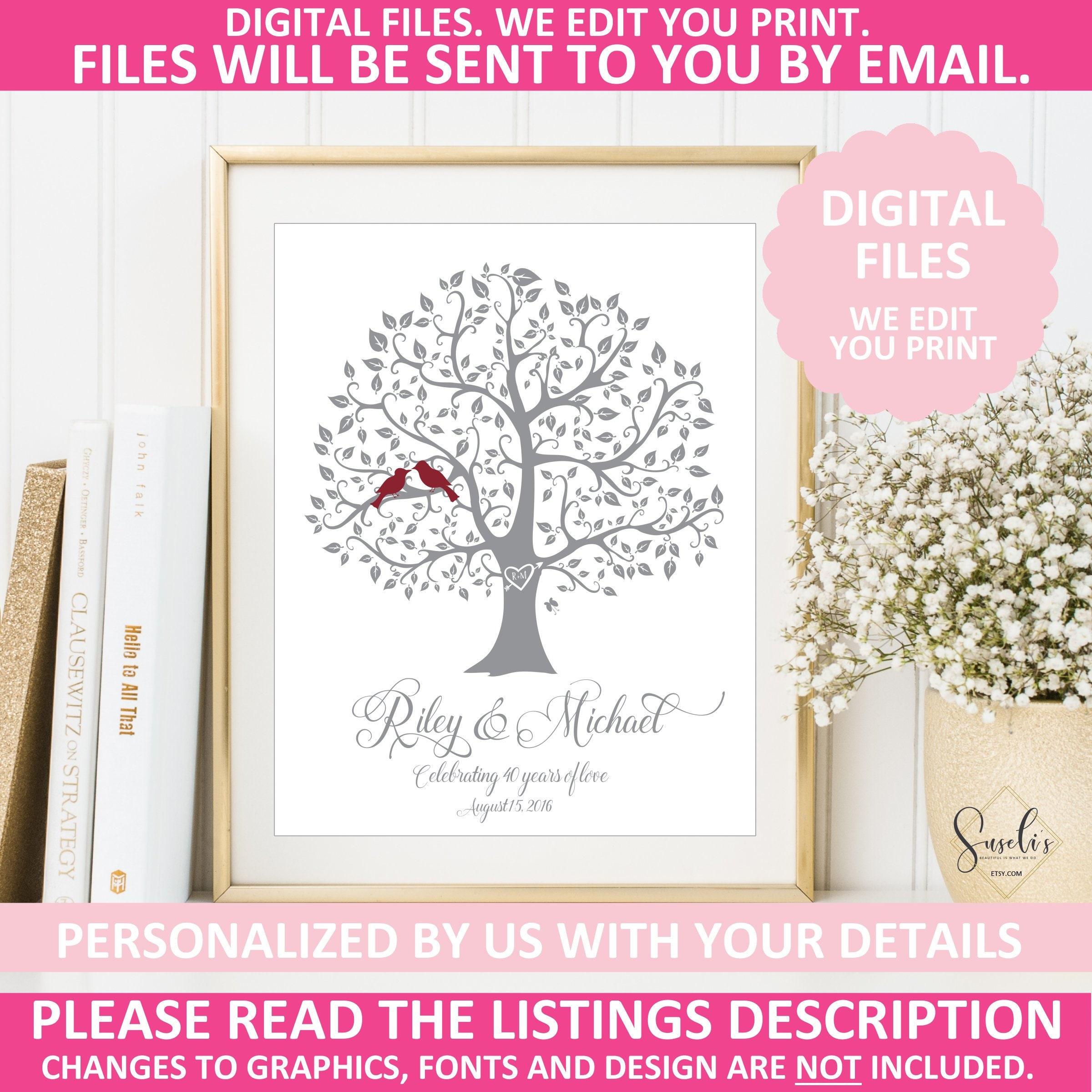 Etsy Wedding Gifts: Printable 40th Anniversary Print Unique Wedding Gift