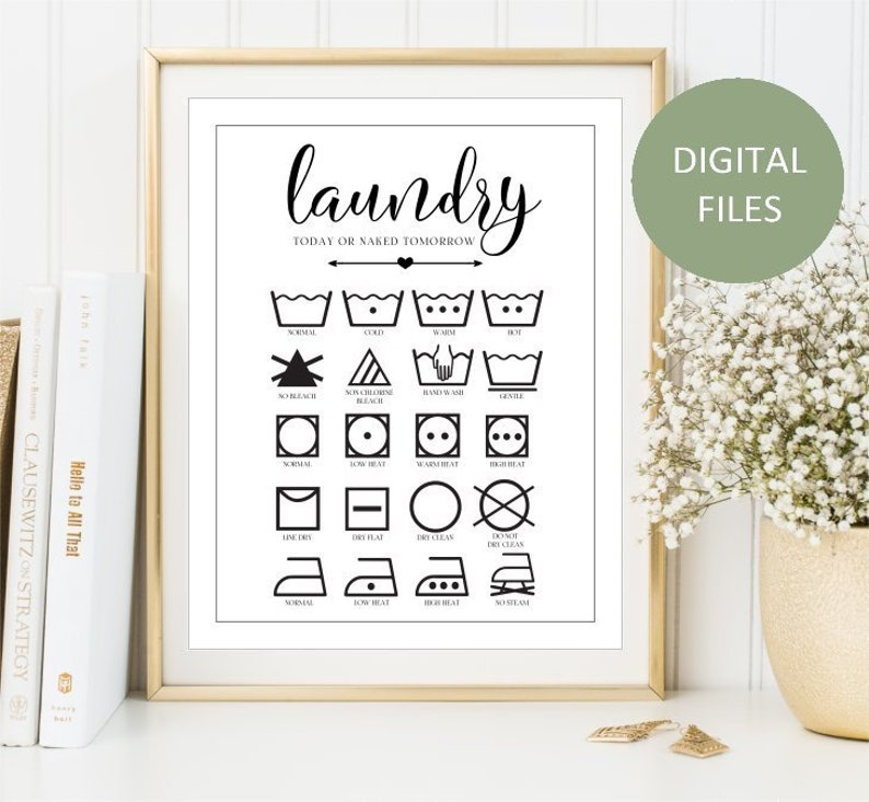 photo about Printable Laundry Symbols titled Printable Laundry Consultant Clean symbols print, Outfits treatment signal, Ironing training artwork, Laundry symbols poster Rest room decor, Electronic Documents