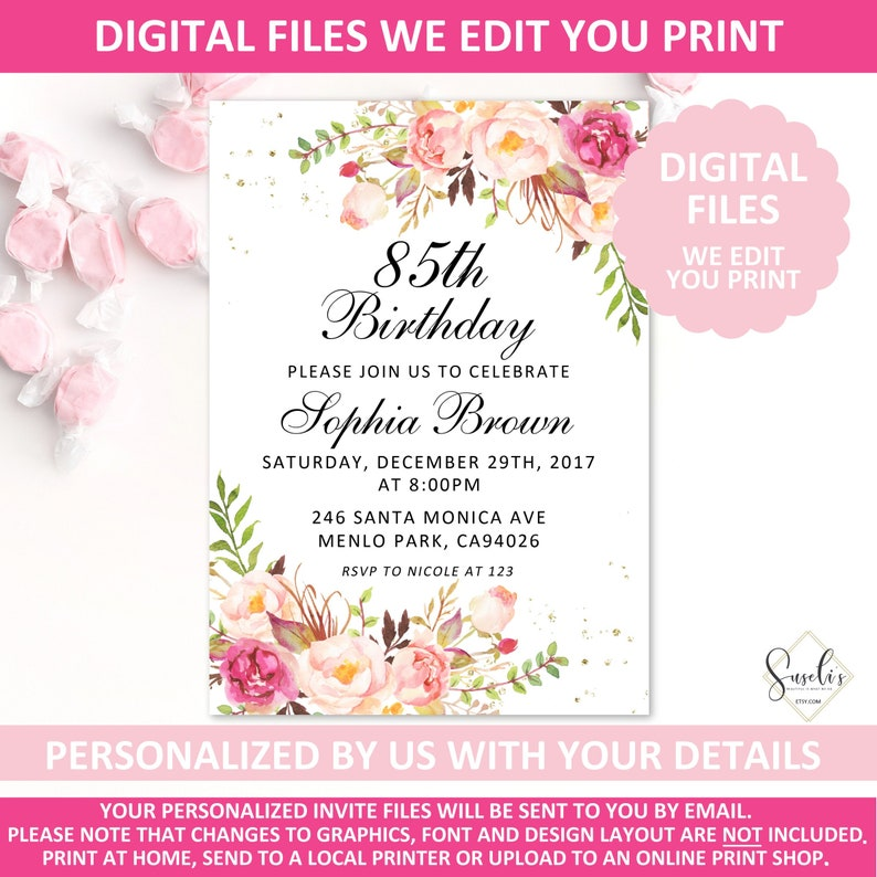 Printable 85th Birthday Invitation Blush Floral