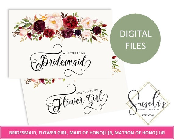 image relating to Printable Will You Be My Bridesmaid identify Printable Will Your self Be My Bridesmaid mounted, Do it yourself Marriage ceremony Bridal Proposal, Marsala Blush Watercolor bouquets, Electronic Documents WS28