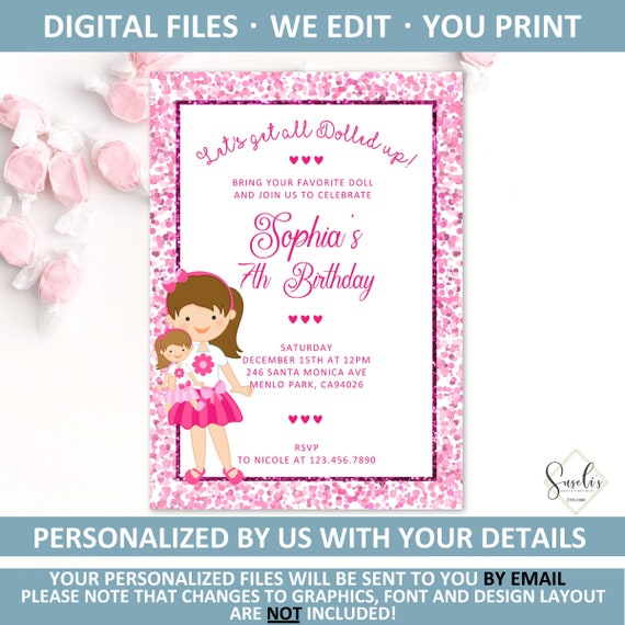 Printable Baby Doll Birthday Invitation Dolly Invite Party