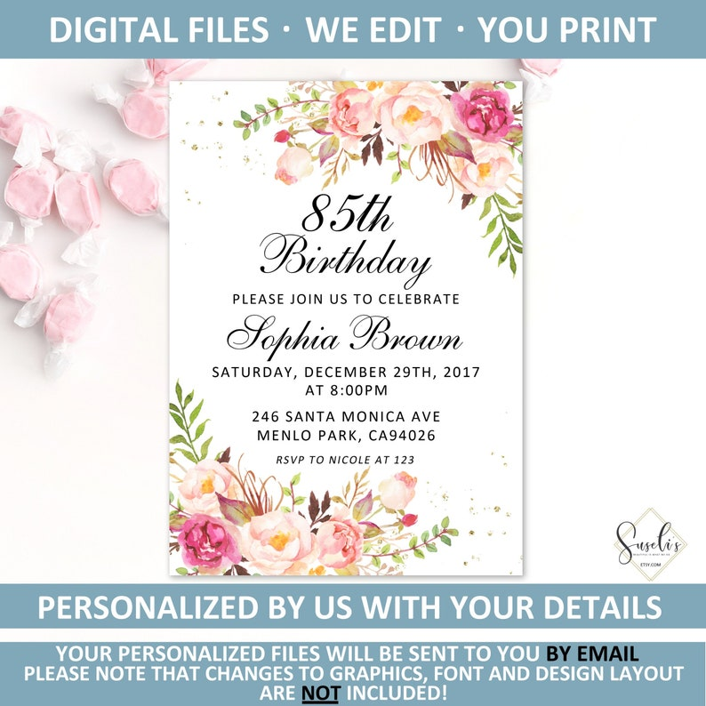 Printable 85th Birthday Invitation Blush Floral