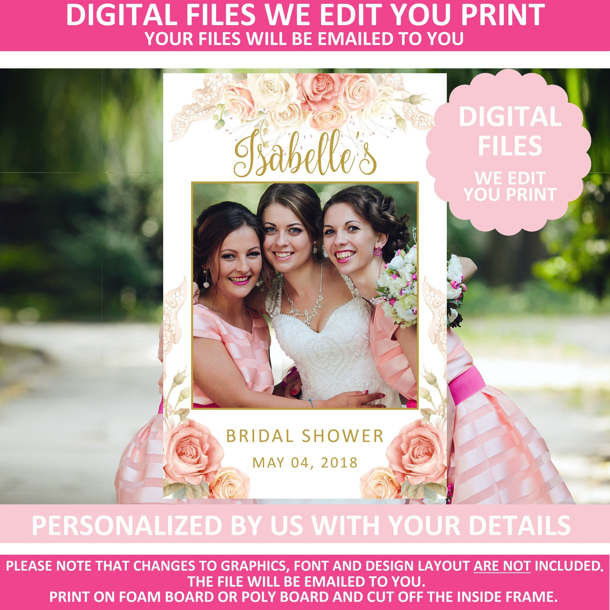 Printable Bridal Shower Photo Prop Booth Frame Digital Etsy