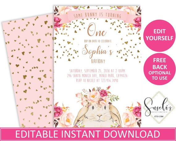 some bunny birthday invite editable invitations template etsy
