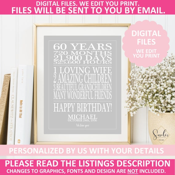 Printable 60th Birthday Gift Print Personalized Sign