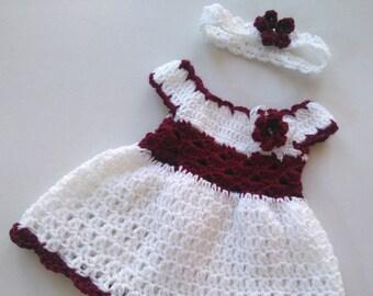 Robe bébé fille Coming Home et bandeau en blanc et Bordeaux, marron robe pour nouveau-né, nourrisson tenue, robe au Crochet et bandeau