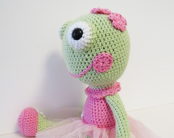 stuffed frog - ballerina frog- crochet frog - toy frog - stuffed animal