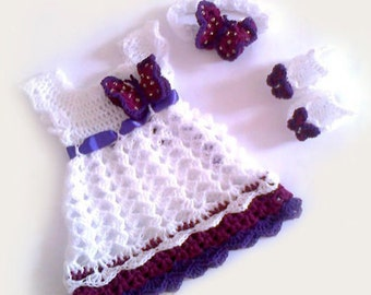 Crochet Baby Dress pattern Baby Dress PatternDiy Download Pattern, Diy Baby Clothes, baby booties pattern, headband pattern, baby headband
