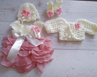 Baby Girl Coming home outfit in cream and dusty roze hospital baby girl first outfit newborn girl clothing set