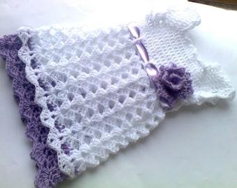 Beautiful Crochet Baby Girl Dress Newborn girl take home outfit