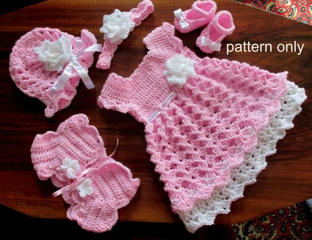 Baby Dress Set Crochet Pattern Crochet Baby Dress Shrug Hat Etsy