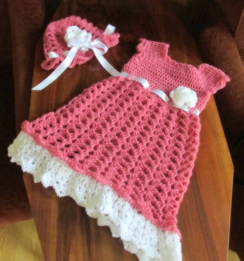 f3d701db784a Baby Girl Crochet Dress And Hat Pink Baby Dress White Pink | Etsy