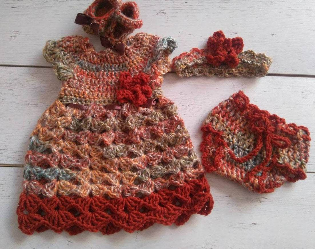 Fall Baby Dress Headband Diaper Cover And Shoes Crochet Etsy