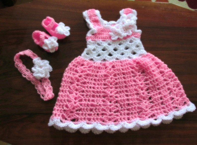 15a34ee20 Crochet baby dress newborn baby dress pink baby dress white