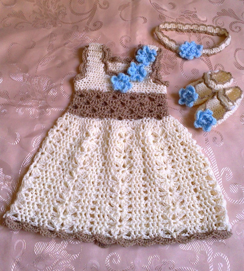 ef6934a854876 crochet baby dress, baby girl dress, crochet girl dress, infant dress  crochet, newborn baby dress, cream brown dress