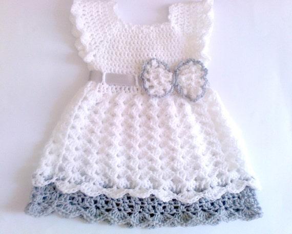 Häkeln Baby Kleid weiße Baby Kleid Taufe Kleid häkeln Baby | Etsy