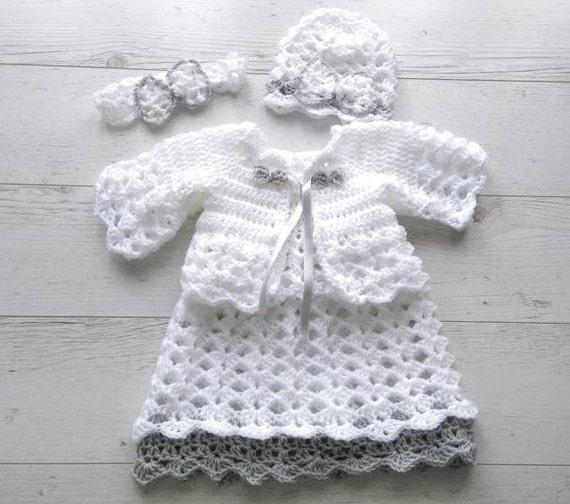 Gehaakte Baby Jurk Set Haak Pasgeboren Clothes Gehaakte Etsy