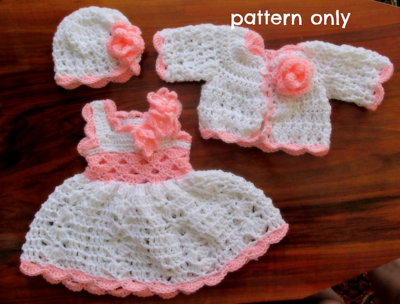 3208ebf265d9 Crochet pattern pdf baby dress pattern newborn crochet set