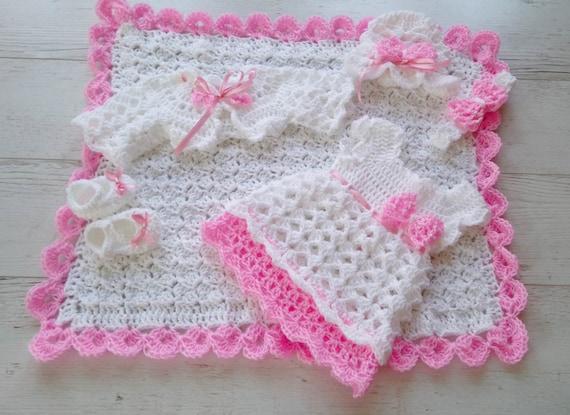 Weiße Baby Outfit Kleid Decke Hut Stirnband Bolero Babyschuhe Etsy