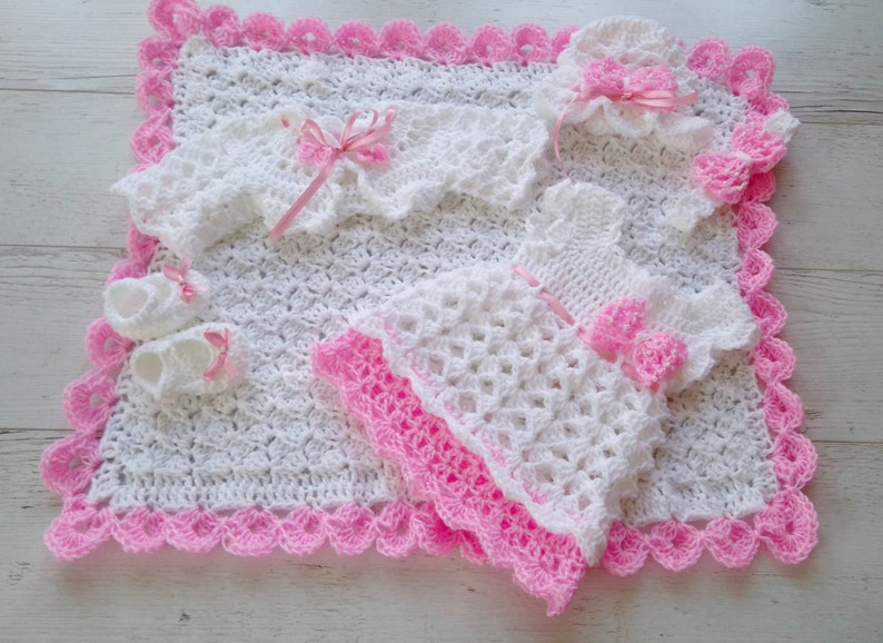 242756b02ab8 White Baby Outfit Baby Dress Blanket Hat Headband Bolero Shoes