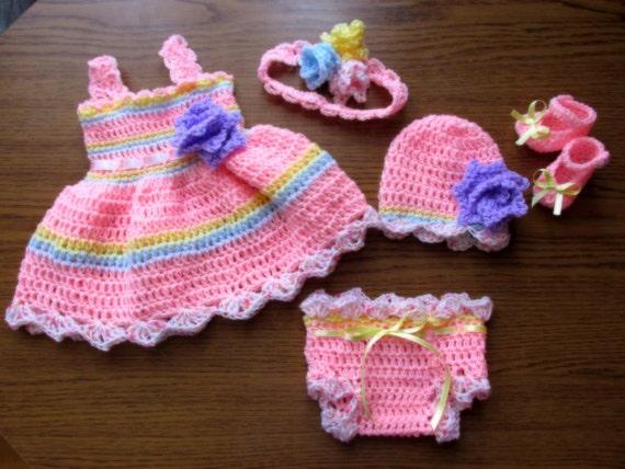 Neugeborene Mädchen Outfit Rosa Babykleid Häkeln Baby Kleid Etsy