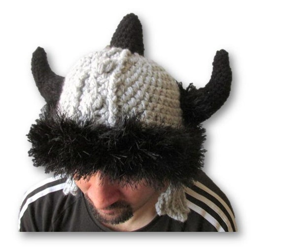 Viking Helmet Knit viking hat Barbarian hat helmet with  64f4b0d5ea8