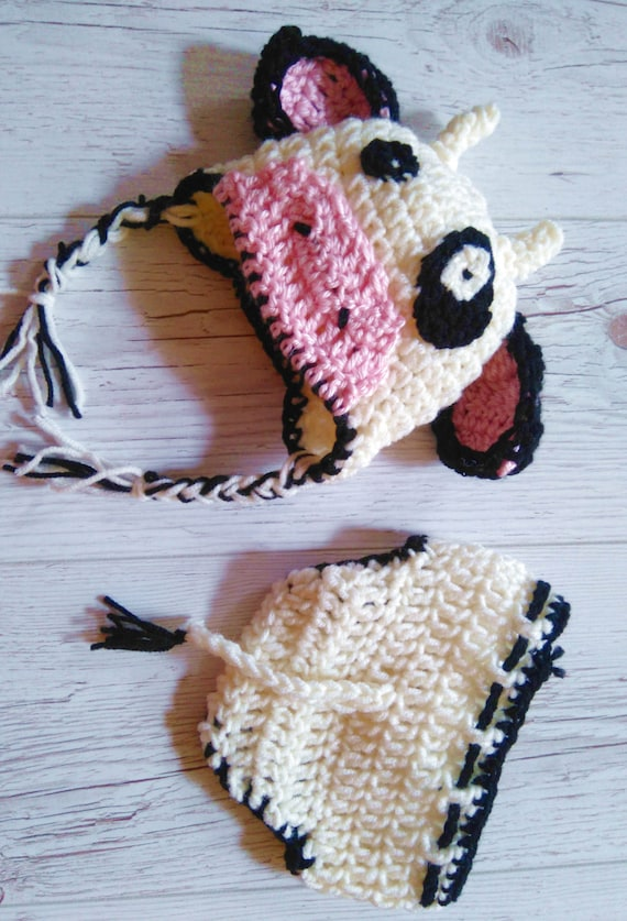 Crochet Cow hat Holstein Hat and Diaper cover Baby Photo prop  c3214f4ad4c